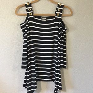 4/$25 black and white striped cold shoulder top